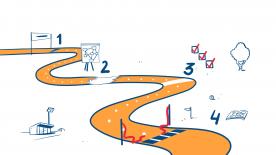 de tekening laat een kronkelige oranje weg zien opgedeeld in 4 trajecten met een start en een finish.