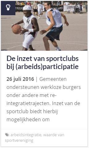 artikel De inzet van sportclubs bij participatie