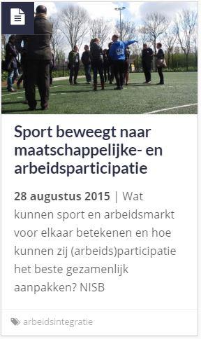 artikel Sport beweegt naar maatschappelijke- en arbeidsparticipatie